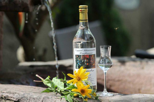 Topinambur Schnapsflasche mit Brunnen im Hintergrund