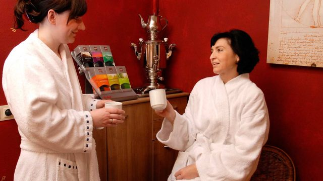 Tee Lounge im Wellness-Bereich